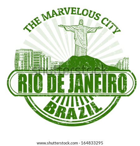 Grunge rubber stamp with the name of Rio de Janeiro ( The Marvelous City ) written inside, vector illustration