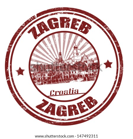 Grunge rubber stamp with the name of Zagreb the capital of Croatia written inside the stamp