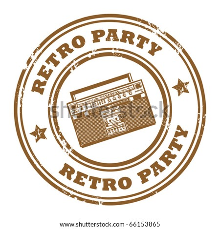 Grunge rubber stamp, with the old radio and text Retro Party written inside, vector illustration - stock vector