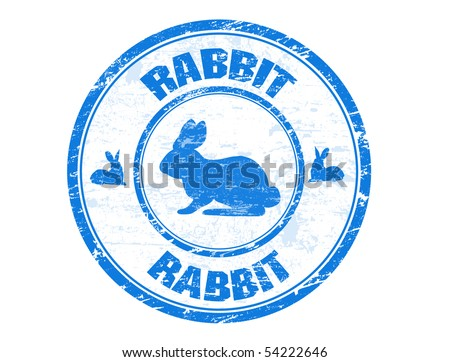Grunge rubber stamp with the rabbit silhouette and the text rabbit written inside the stamp - stock vector