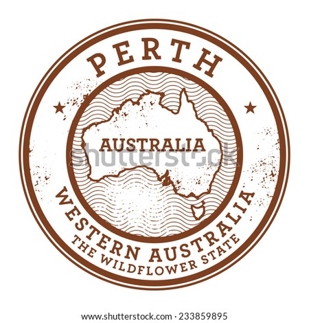 Grunge rubber stamp with the text Australia, Perth written inside the stamp, vector illustration