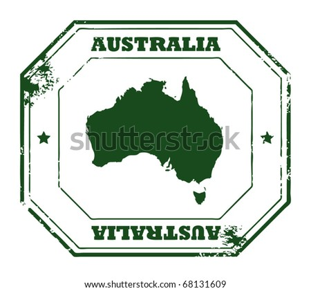 Grunge rubber stamp with the text Australia written inside the stamp, vector illustration - stock vector