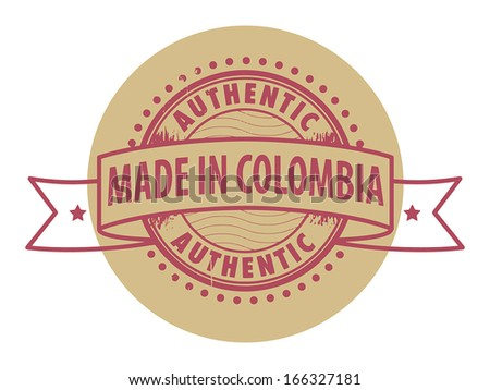 Grunge rubber stamp with the text Authentic, Made in Colombia written inside the stamp, vector illustration - stock vector