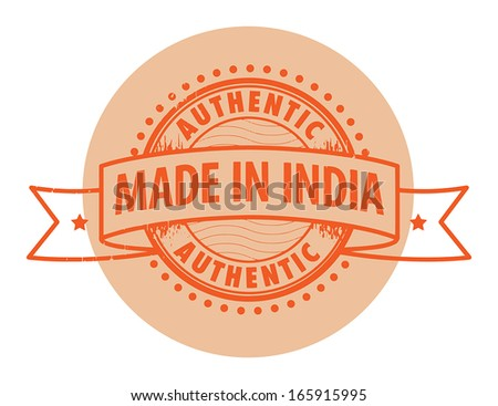 Grunge rubber stamp with the text Authentic, Made in India written inside the stamp, vector illustration - stock vector