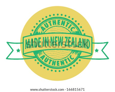 Grunge rubber stamp with the text Authentic, Made in New Zealand written inside the stamp, vector illustration