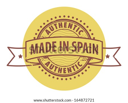 Grunge rubber stamp with the text Authentic, Made in Spain written inside the stamp, vector illustration - stock vector