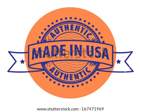 Grunge rubber stamp with the text Authentic, Made in USA written inside the stamp, vector illustration - stock vector
