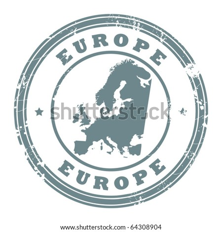 Grunge rubber stamp with the text Europe written inside the stamp, vector illustration - stock vector