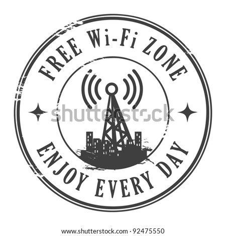 Grunge rubber stamp with the text Free wifi zone written inside, vector illustration - stock vector