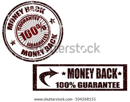 Grunge rubber stamp with the text money back guarantee written inside the stamp, vector illustration - stock vector