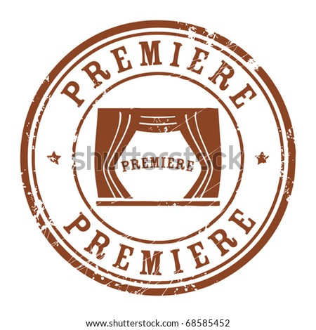 Grunge rubber stamp with the text Premiere written inside the stamp, vector illustration - stock vector