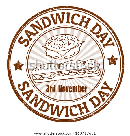 Grunge rubber stamp with the text Sandwich Day written inside, vector illustration