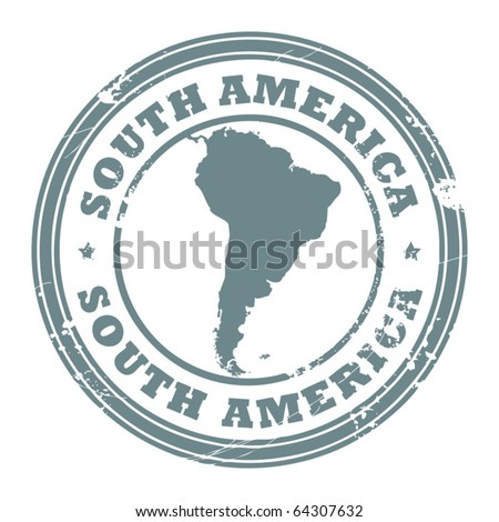 Grunge rubber stamp with the text South America written inside the stamp, vector illustration - stock vector