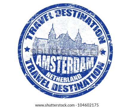 Grunge rubber stamp with the text travel destinations Amsterdam inside, vector illustration