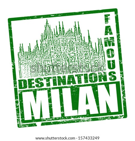 Grunge rubber stamp with the text travel destinations Milan inside, vector illustration - stock vector