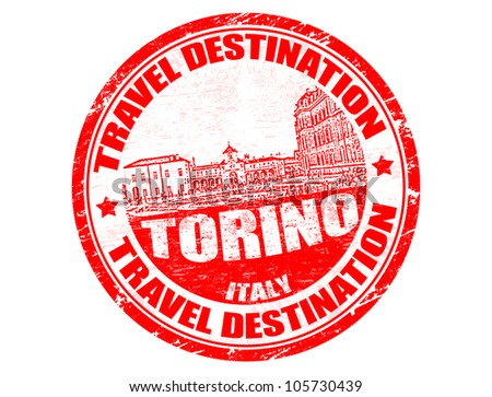 Grunge rubber stamp with the text travel destinations Torino inside, vector illustration