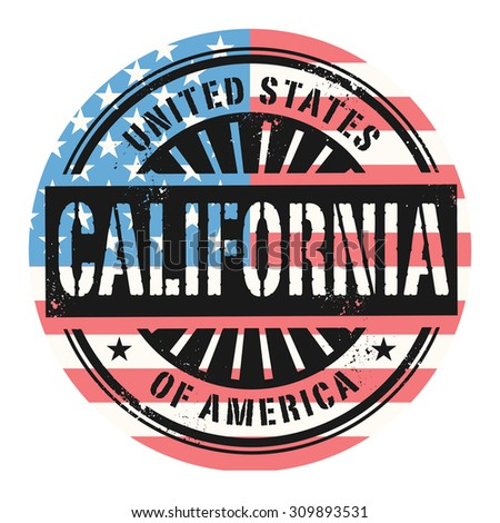 Grunge rubber stamp with the text United States of America, California, vector illustration - stock vector