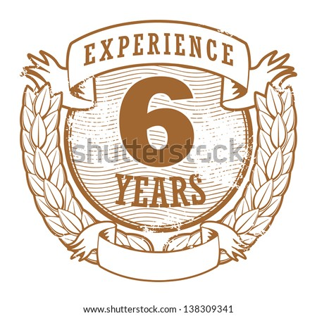 Grunge rubber stamp with the text 6 Years Experience written inside, vector illustration - stock vector