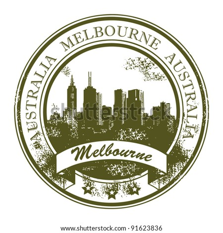 Grunge rubber stamp with the word Melbourne, Australia inside, vector illustration