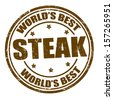 Grunge rubber stamp with the word steak written inside the stamp - stock vector