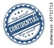 Grunge rubber stamp with the words Confidential - Top secret inside, vector illustration - stock photo