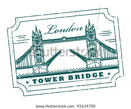 Grunge rubber stamp with Tower Bridge, London, inside, vector illustration - stock vector