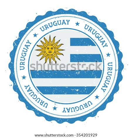 Grunge rubber stamp with Uruguay flag. Vintage travel stamp with circular text, stars and country flag inside it, vector illustration - stock vector