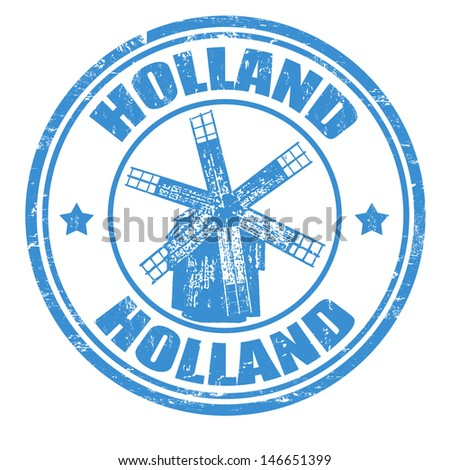 Grunge rubber stamp with windmill and the word Holland inside, vector illustration
