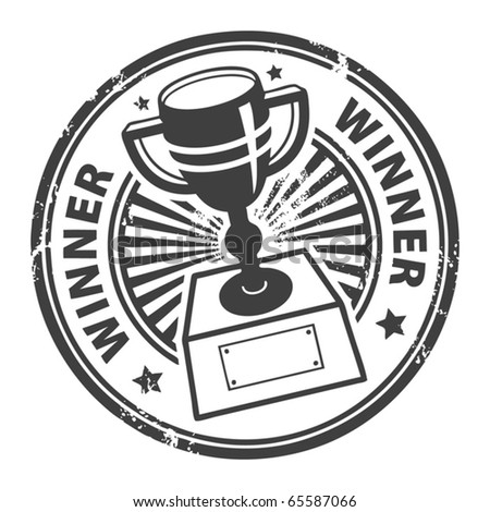Grunge rubber stamp with winner cup and the word winner written inside, vector illustration
