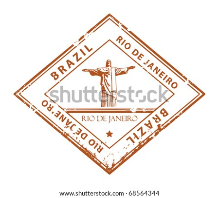 Grunge rubber stamp with word Rio de Janeiro, Brazil, vector illustration - stock vector
