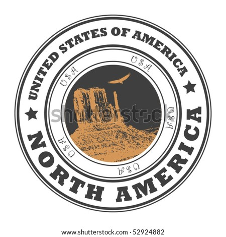 Grunge rubber stamp with word United States of America, North America inside, vector illustration - stock vector