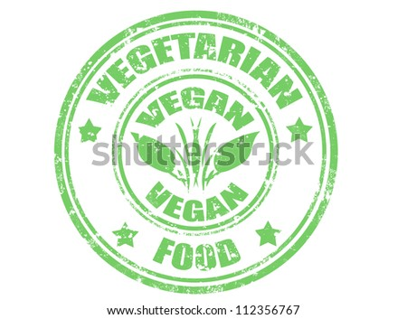 Grunge rubber stamp with word vegetarian food,vector illustration