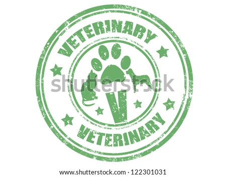 Grunge rubber stamp with word veterinary inside,vector illustration - stock vector