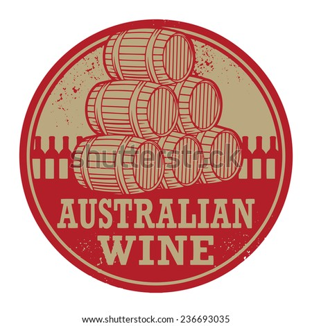 Grunge rubber stamp with words Australian Wine, vector illustration