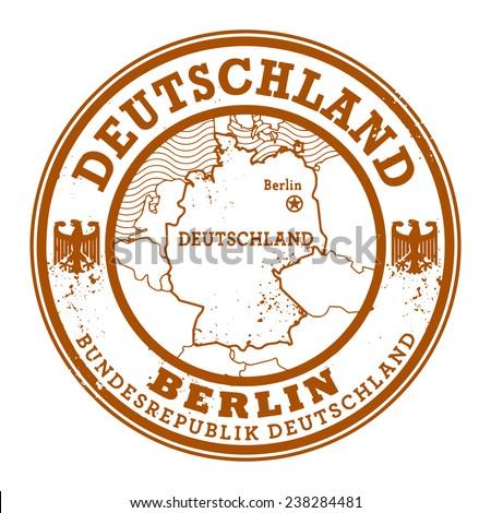 Grunge rubber stamp with words Deutschland, Berlin inside, vector illustration - stock vector