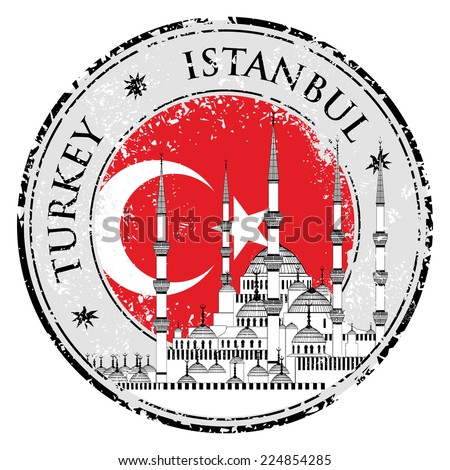 Grunge rubber stamp with words Istanbul, Turkey inside, vector illustration  - stock vector