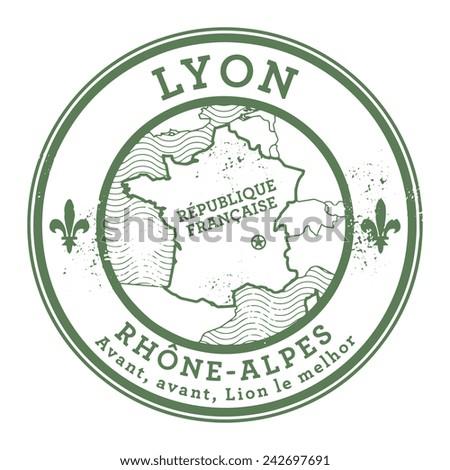Grunge rubber stamp with words Lyon, France inside, vector illustration - stock vector