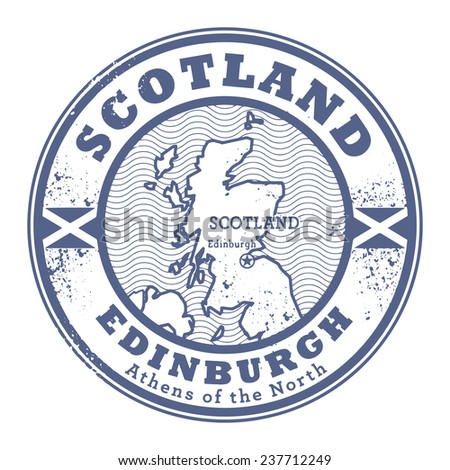 Grunge rubber stamp with words Scotland, Edinburgh inside, vector illustration