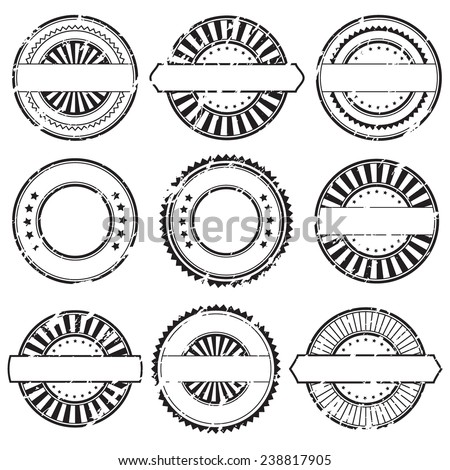Grunge rubber stamps and stickers icons, set, graphic design elements, black isolated on white background, vector illustration.