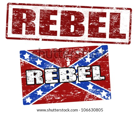 Grunge rubber stamps with confederate flag and rebel stamp, vector illustration - stock vector