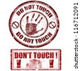 Grunge rubber stamps with hand print with do not touch - don't touch, vector illustration - stock photo