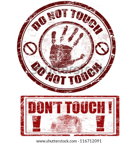 Grunge rubber stamps with hand print with do not touch - don't touch, vector illustration - stock vector