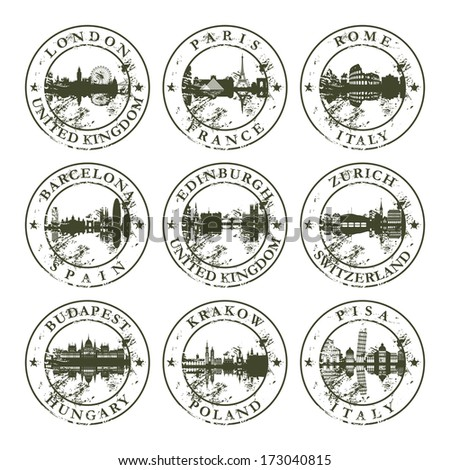 Grunge rubber stamps with London, Paris, Rome, Barcelona, Edinburgh, Zurich, Budapest, Krakow and Pisa - vector illustration - stock vector