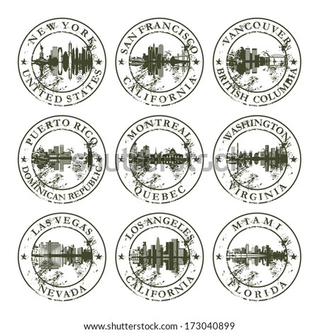 Grunge rubber stamps with New York, San Francisco, Vancouver, Puerto Rico, Montreal, Washington, Las Vegas, Los Angeles and Miami - vector illustration - stock vector