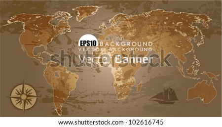 Grunge, rustic world map. This illustration is an EPS10 file and contains several transparencies blend with its easily editable in separate layers. Vector illustration scale to any size. - stock vector