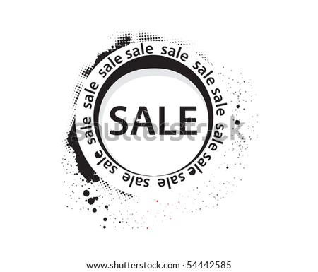 grunge sale banner, shopping concept grunge vector Illustration - stock vector