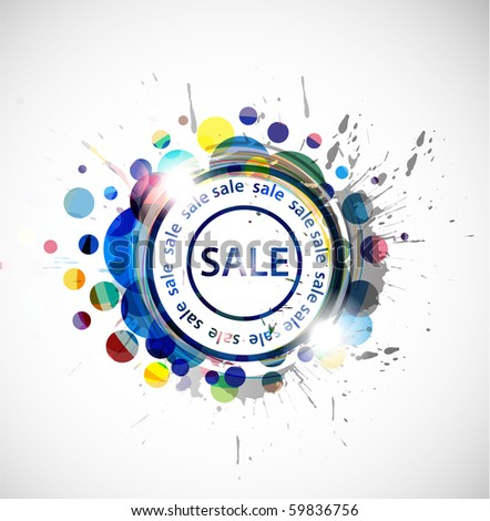 grunge sale banner, shopping concept grunge vector Illustration. - stock vector