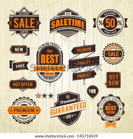 Grunge sale emblems. Set of retro styled trade badges on wood plank background. Vector illustration. - stock vector