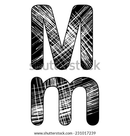 grunge scratch letter M alphabet symbol design on white