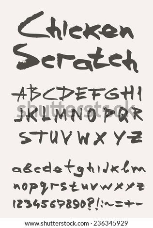 Grunge scratch type font, vintage typography vector - stock vector